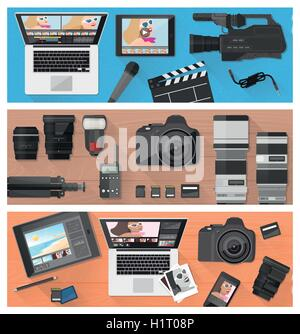Photograph, video making and photo editing banner set with professional equipment, laptops and camera, flat lay - Stock Photo