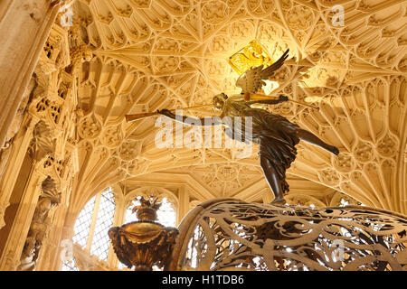 England, London, Westminster, Westminster Abbey, Interior View Ceiling of Henry VII's Lady Chapel - Stock Photo