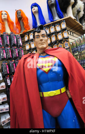 Superman Mannequin in Halloween Costume Shop, NYC, USA - Stock Photo