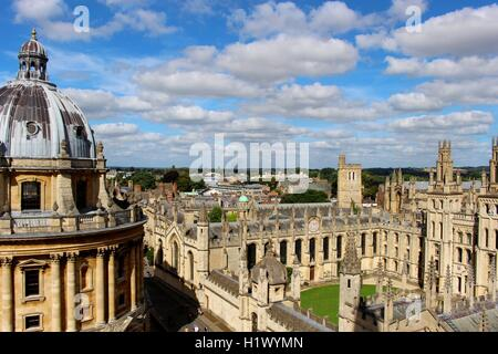 Panoramic views of Oxford from the top of St Mary's Church. - Stock Photo
