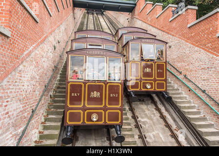 BUDAPEST, SEPTEMBER 18: Modular cabins cable car on Castle Hill on September 18, 2016 in Budapest, Hungary. - Stock Photo