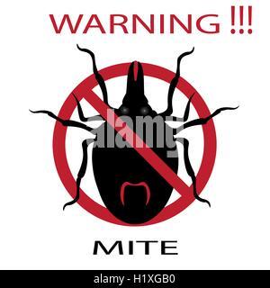 Symbol parasite warning sign. Mite spider. Mite red. Mite allergy. Epidemic. Mite parasites. - Stock Photo