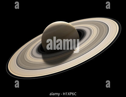 Planet Saturn rendered to scale and isolated on black (Elements of planet texture for 3d model furnished by NASA) - Stock Photo
