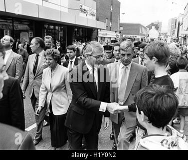 John Major during a walk about in Larne, Northern Ireland, is a British politician who was the Prime Minister of - Stock Photo