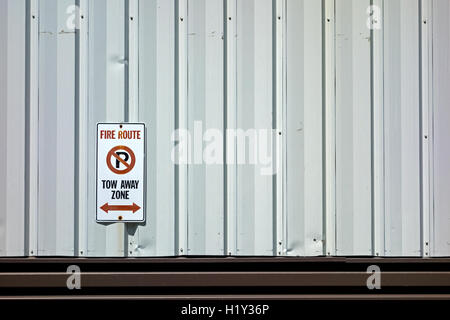 Fire Route No Parking sign - Stock Photo
