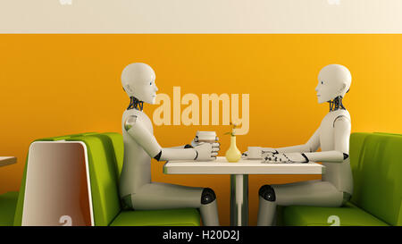 Robots in cafe, 3D Rendering - Stock Photo