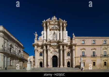 The Cathedral of Syracuse or Duomo di Siracusa is an ancient Catholic church in Syracuse, Sicily. - Stock Photo
