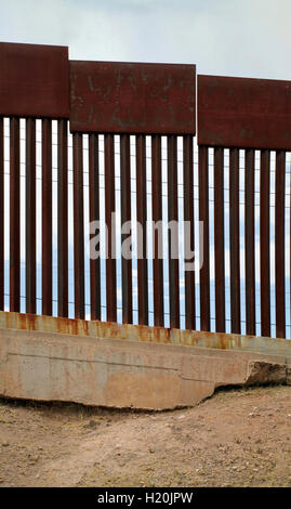 US-Mexican border as seen from Nogales, Mexico - Stock Photo