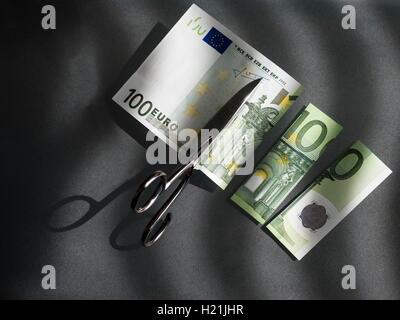100 euro and scissors, symbolic picture, costs - Stock Photo