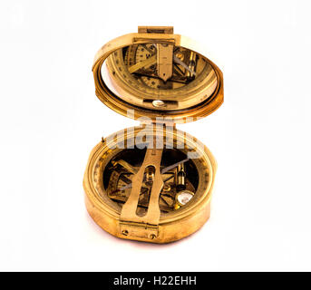 Antique Brass compass isolated on white - Stock Photo