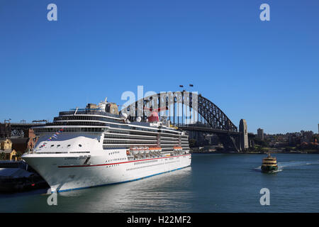 The luxury cruise ship Carnival Spirit berthed at the Overseas Passenger Terminal Sydney New South Wales Australia - Stock Photo