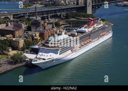 Aerial view of luxury cruise ship Carnival Spirit berthed at the Overseas Passenger Terminal Circular Quay Sydney - Stock Photo