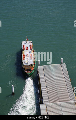 Aerial view of Sydney Harbour Ferry - Lady Herron departing from Circular Quay Ferry terminal Sydney Australia - Stock Photo