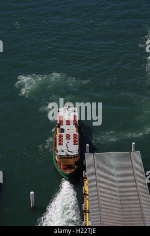 Aerial view of Sydney Harbour Ferry Lady Herron departing from Circular Quay Terminal Sydney CBD New South Wales - Stock Photo
