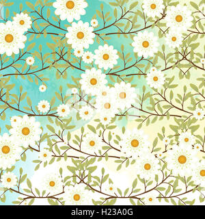 Springtime nature scene with tree branches and white flowers on a watercolor sky background. Digital art in pastel - Stock Photo