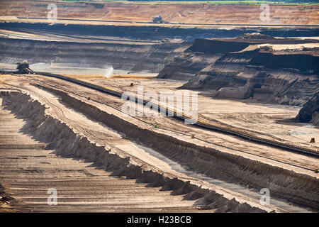 Structured Layers of Earth at open cast Brown Coal Mining at Garzweiler - Stock Photo