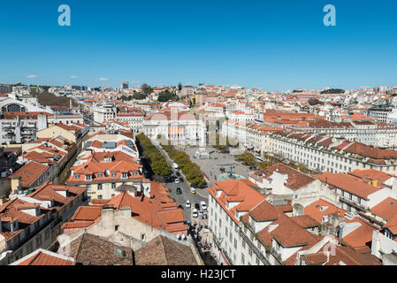 View of historic centre, statue of King Pedro IV in Rossio Square, National Theatre, Baixa, Lisbon, Portugal - Stock Photo