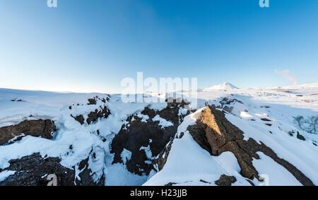 Divergent boundary, Mid-Atlantic Ridge, rift valley, Krafla, Mývatn, North Iceland, Iceland - Stock Photo