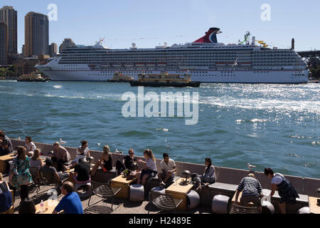 Luxury cruise ship the Carnival Spirit berthed at the Overseas Passenger Terminal Circular Quay Sydney CBD New South - Stock Photo