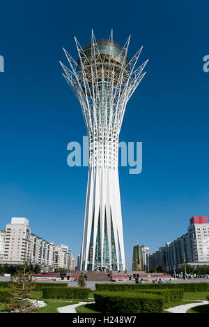 Bayterek is a monument and observation tower in Astana, Kazakhstan. - Stock Photo