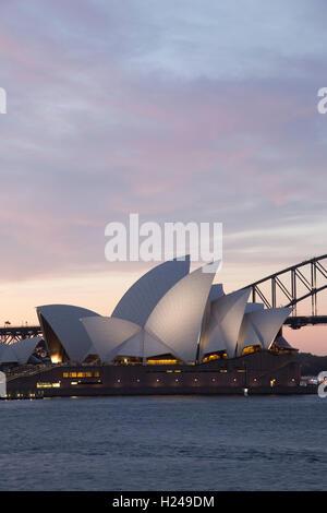 Sunset over the Sydney Opera House from Mrs Macquaries Point Sydney Australia - Stock Photo