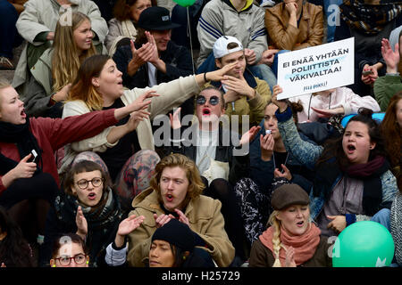 HELSINKI, FINLAND – SEPTEMBER 24, 2016: Demonstration against racism and fascism PELI POIKKI (STOP THIS GAME) in - Stock Photo