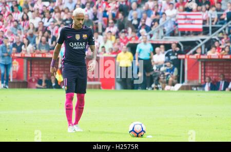 Gijon, Spain. 24th September, 2016. Neymar Jr. (Forward, FC Barcelona) prepares to take a free kick during the football - Stock Photo