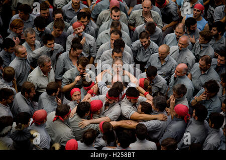 Barcelona, Catalonia, Spain. 24th Sep, 2016. Castellers get ready to build a human tower during the Jornada Castellera or 'Human Towers Day' during La Merce Festival. Credit:  Jordi Boixareu/ZUMA Wire/Alamy Live News