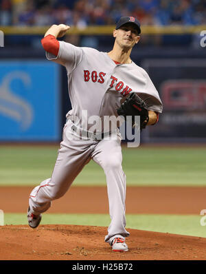 St. Petersburg, Florida, USA. 24th Sep, 2016. WILL VRAGOVIC | Times.Boston Red Sox starting pitcher Rick Porcello - Stock Photo