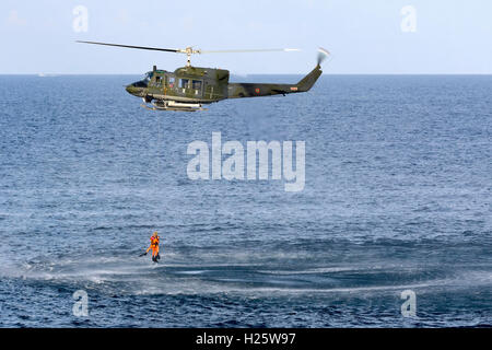 Italian Air Force Agusta AB-212AM [MM81212] based in Malta (deployment ending soon) performing a rescue from the - Stock Photo