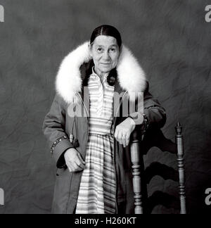 Black & white studio portrait of an Inuit woman wearing traditional clothing, Iqaluit, Nunavut, Canada - Stock Photo