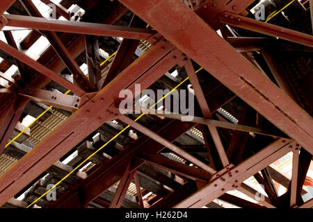 Under the elevated L tracks in the Loop in Chicago, IL - Stock Photo