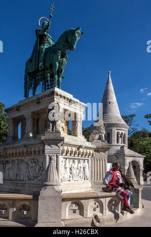 Statue of St Stephen (Istvan) at the Fishermens Bastion in Holy Trinity Square in Budapest, Hungary. - Stock Photo