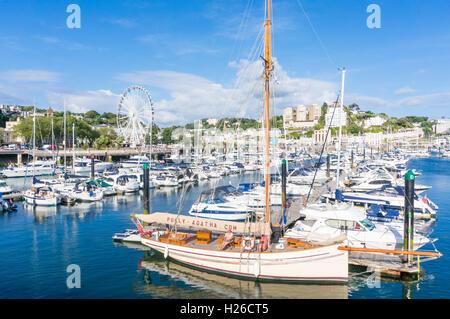 Luxury yachts moored at Torquay Marina Torquay Devon England UK GB Europe EU - Stock Photo