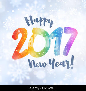 New year 2017 colorful date and greetings in snowfall - Stock Photo