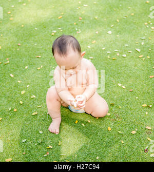 Outdoor portrait of Asian baby boy playing sitting and crawling on the green grass field in the park - Stock Photo