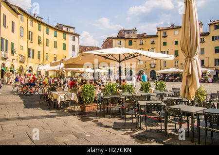 Piazza 'Anfiteatro Romano', Lucca, Tuscany, Italy - Stock Photo