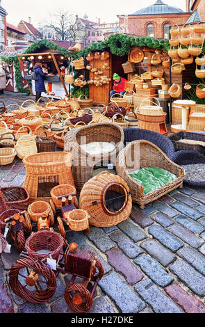 Riga, Latvia - December 25, 2015: Straw basket on the display for sale at the Christmas Market in the old town of - Stock Photo