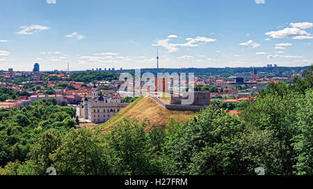 Panorama of Gediminas Tower on the hill and Lower Castle in Vilnius in Lithuania. Gediminas Tower is also called - Stock Photo