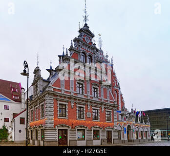 Riga, Latvia - December 25, 2015: House of the Blackheads during the Christmas season in Riga, Latvia. Selective - Stock Photo