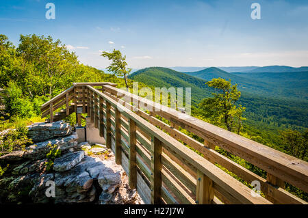 Wooden bridge and view of the Appalachian Mountains from Big Schloss, in George Washington National Forest, Virginia. - Stock Photo