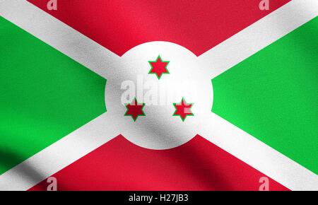 Burundian national official flag. African patriotic symbol, banner, element, background. Flag of Burundi waving - Stock Photo