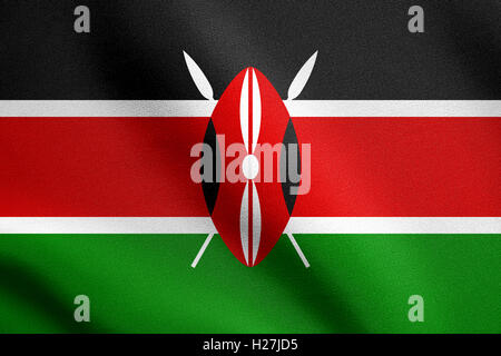 Kenyan national official flag. African patriotic symbol, banner, element, background. Flag of Kenya waving in the - Stock Photo