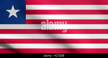 Liberian national official flag. African patriotic symbol, banner, element, background. Flag of Liberia waving in - Stock Photo