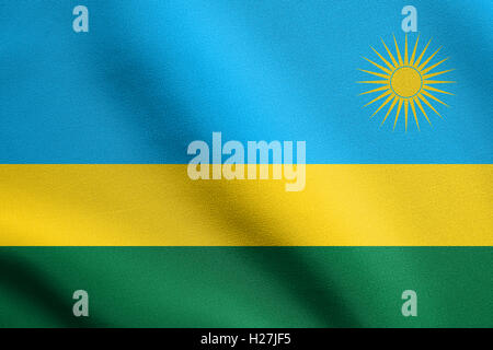 Rwandan national official flag. African patriotic symbol, banner, element, background. Flag of Rwanda waving in - Stock Photo