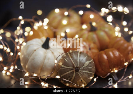 Halloween pumpkins with electric illumination - Stock Photo