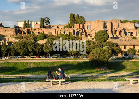 Rome. Italy. Ruins of the Domus Augustana on the Palatine Hill viewed from Circo Massimo. - Stock Photo