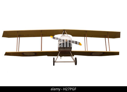 Vintage Propeller Biplane Isolated on White Background - Stock Photo