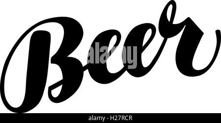 Beer handmade lettering, calligraphy. Vector illustration - Stock Photo
