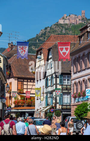 Ribeauville wine route village, Alsace, France - Stock Photo